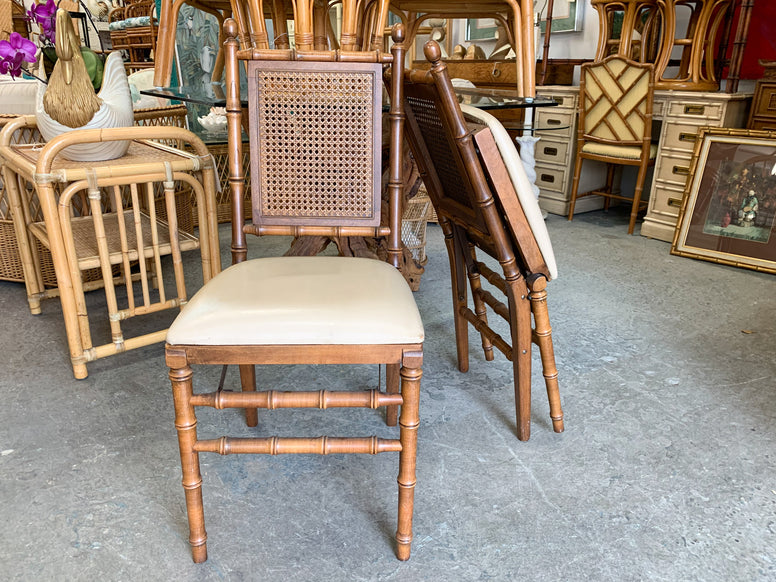 Pair of Faux Bamboo and Cane Folding Chairs