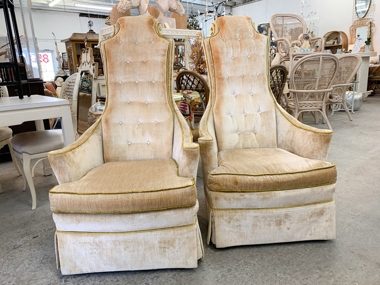 Pair of Hollywood Regency High Back Chairs