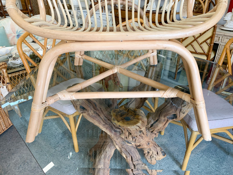 Pair of Hooded Rattan Chairs
