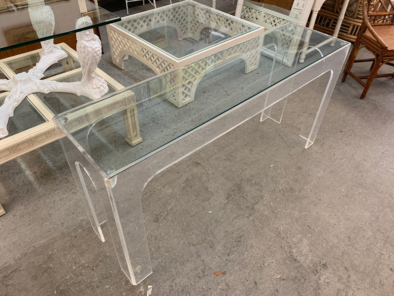 Modern Glam Lucite Console Table
