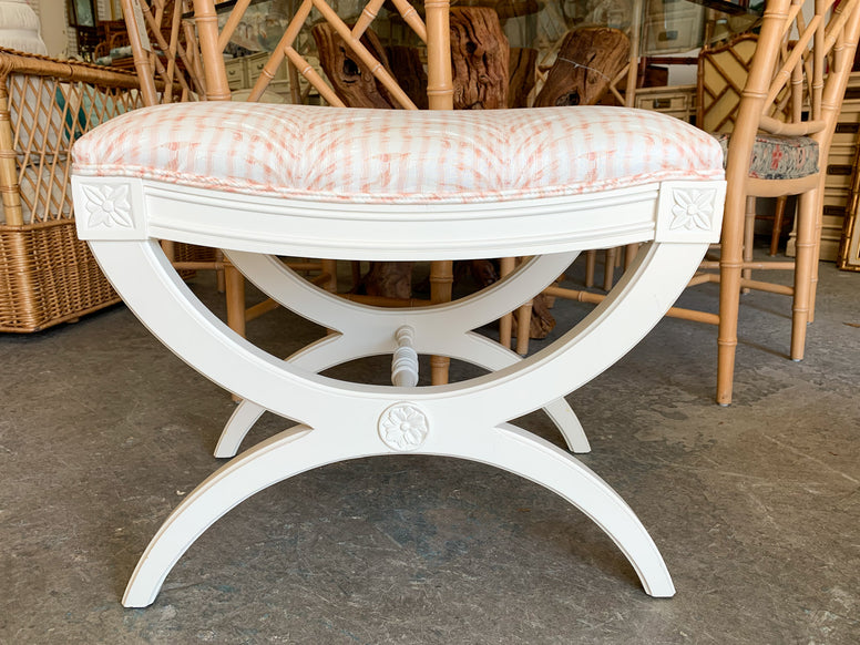 Pair of Hollywood Regency Kindel X Benches