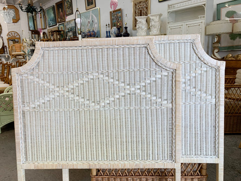 Pair of Wicker Pagoda Twin Headboards