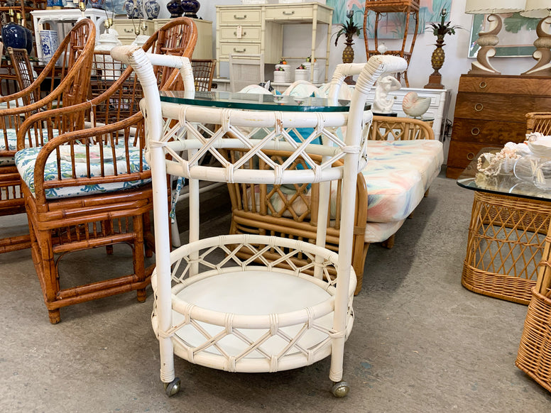 Diamond Weave Bar Cart on Casters