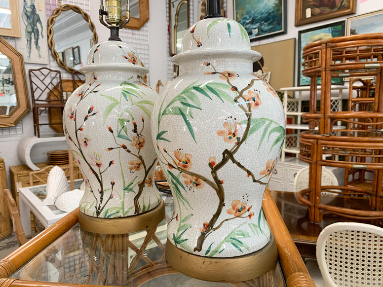 Pair of Colorful Bamboo Pattern Lamps