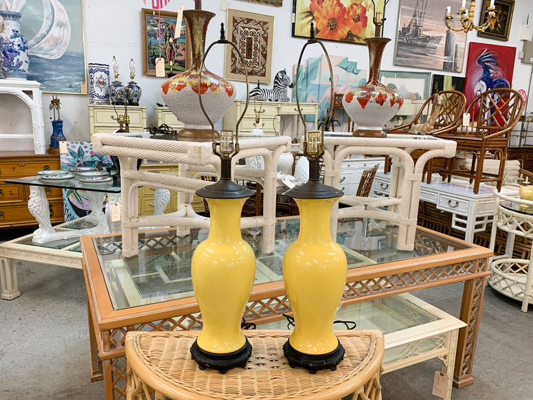 Pair of Canary Yellow Asian Inspired Lamps