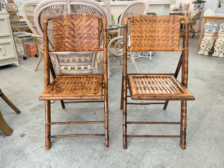 Pair of Two Tortoiseshell Folding Chairs