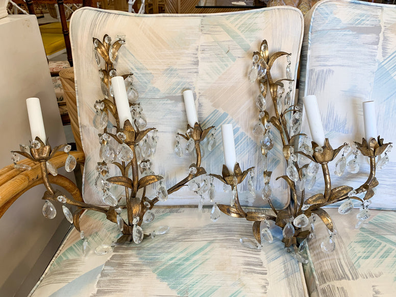 Pair of Italian Roche Style Sconces with Crystals