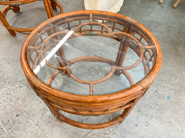 Pair of Rattan Flower Side Tables