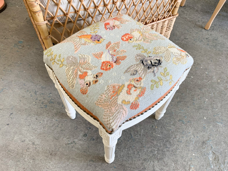 Fishy Needlepoint Stool