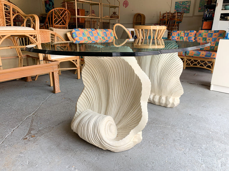 Double Shell Plaster Dining Table