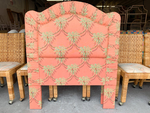 Pair of Upholstered Palm Tree Pagoda Twin Headboards
