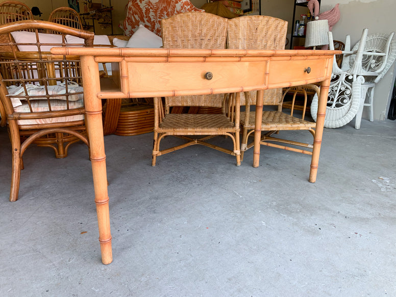 Curved Faux Bamboo Desk