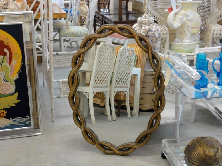Hollywood Regency Twisted Gold Mirror
