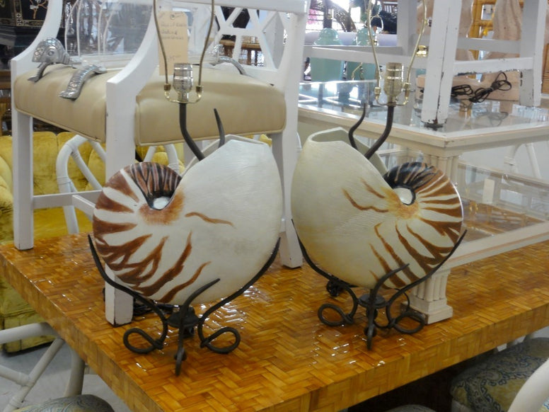 Large Pair of Faux Nautilus Shell Lamps