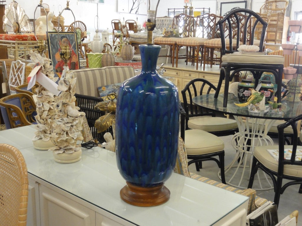 Image of: Large Mid Century Modern Blue Green Lamp Palm Beach Regency
