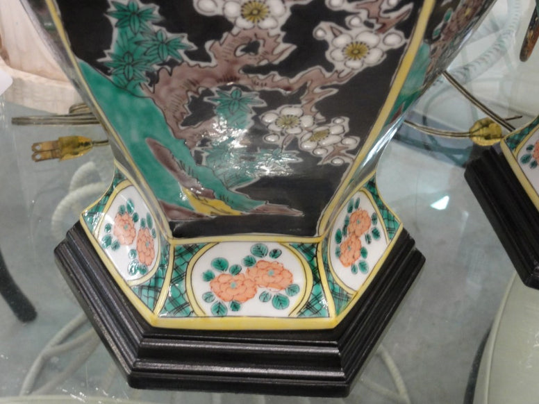 Pair of Asian Inspired Cherry Blossom Lamps