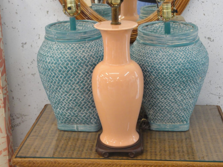 Coral Blush Ginger Jar Lamp