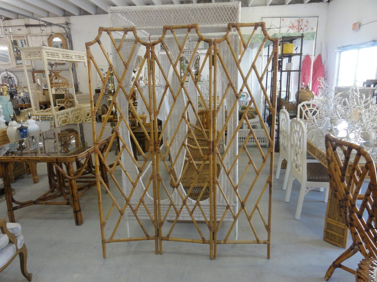 Bamboo Pagoda 3 Panel Chippendale Screen