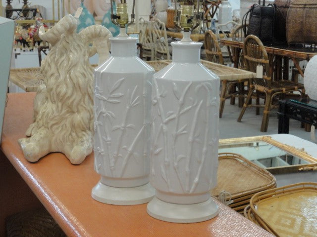 Pair of Palm Beach Faux Bamboo Lamps