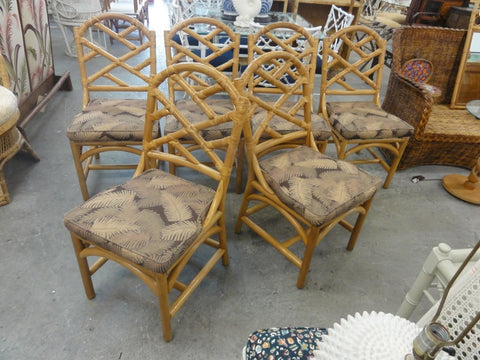 Set of 6 Rattan Chippendale Side Chairs