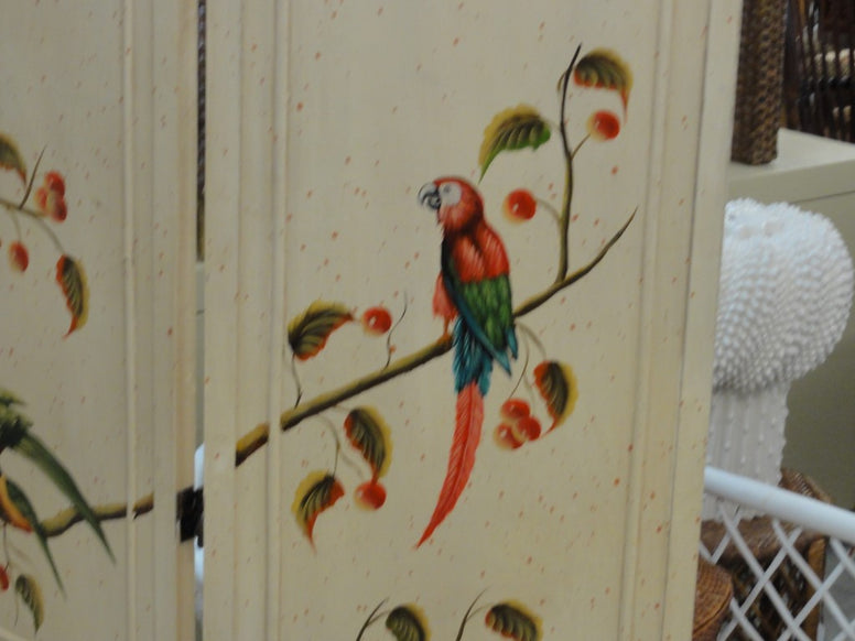 Hand Painted Parrot & Cherry Screen