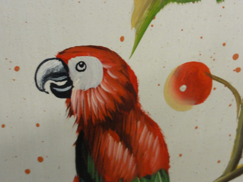 Charming Hand Painted Parrot & Cherry Screen