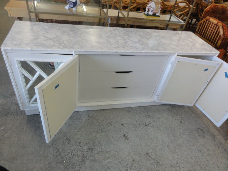 Mirrored Faux Bamboo Chippendale Credenza