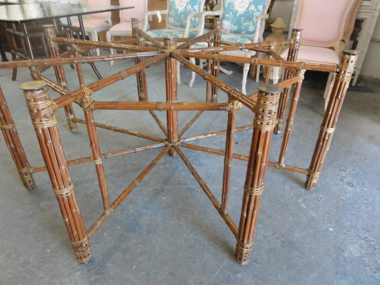 Pair of Rattan Pagoda Chippendale Etageres