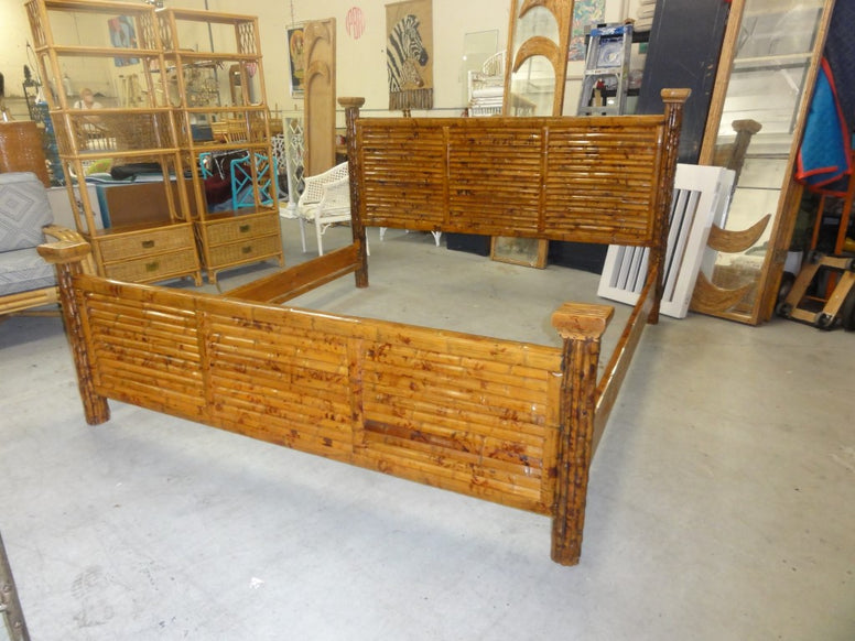 King Size Tortoise Shell Bamboo Bed