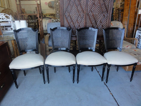 Black Lacquered Cane back Chairs