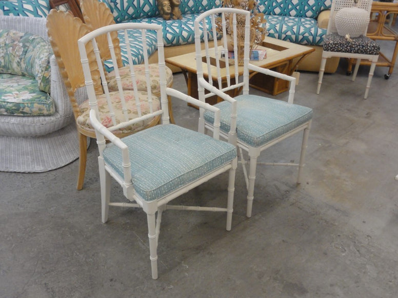 Pair of Palm Beach Faux Bamboo Arm Chairs