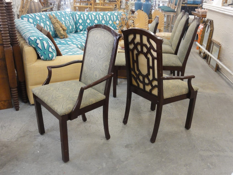 Pair of Hollywood Regency Fretwork Arm Chairs