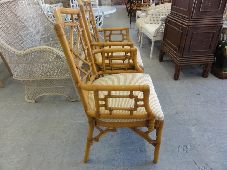 Pair of Fretwork Rattan Arm Chairs