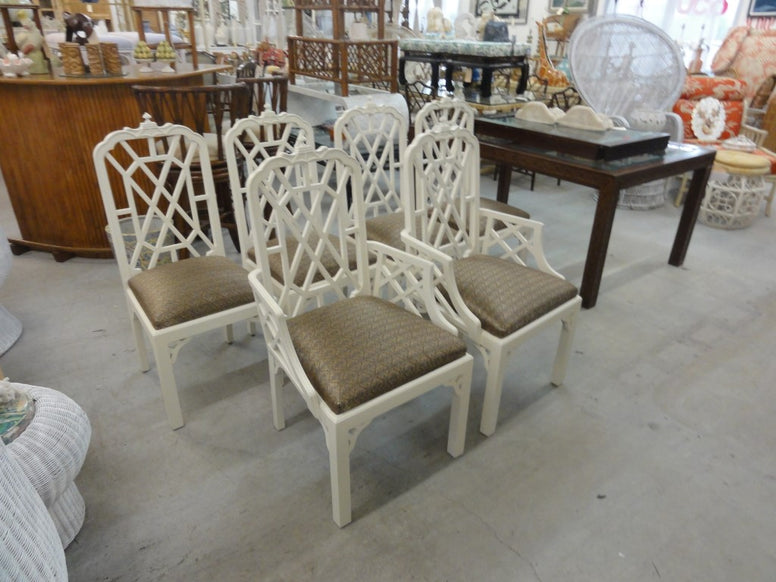 6 Chinoiserie Pagoda Fretwork Dining Chairs