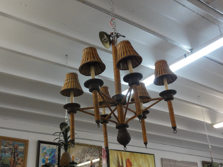 Large Wrapped Bamboo Chandelier