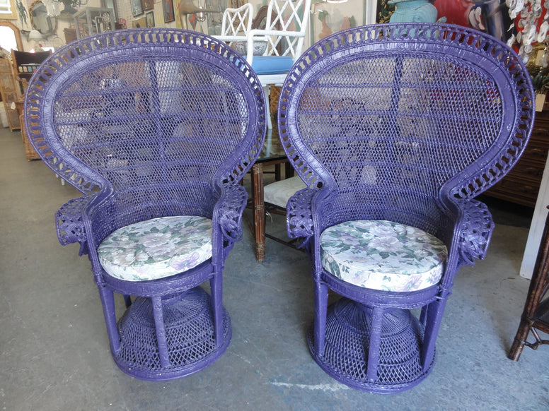 Pair of Purple Peacock Fan Chairs