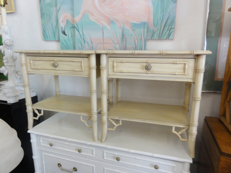 Pair of Faux Bamboo Night Stands