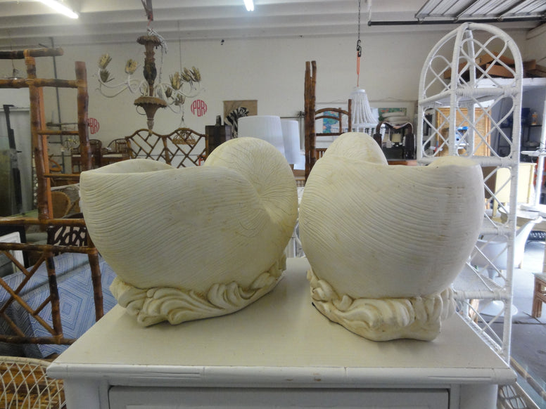 Pair of Composite Shell Cachepot