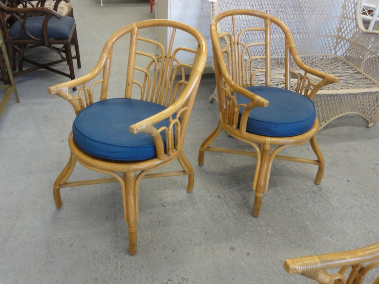 Cute Pair of Rattan Island Style Arm Chairs