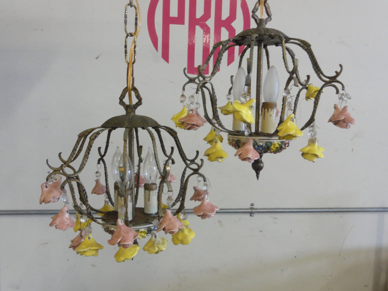 Sweet Pair of Petite Italian Rose Chandeliers