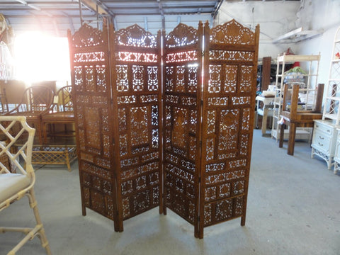 4 Panel Moroccan Style Wood Carved Screen