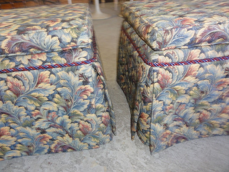 Pair of Upholstered Skirted Stools