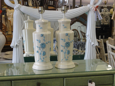Pair of Powder Blue Flower Icing Lamps