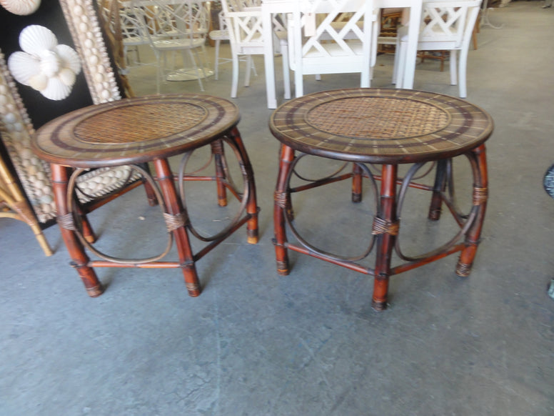 Pair of Island Style Rattan Side Tables