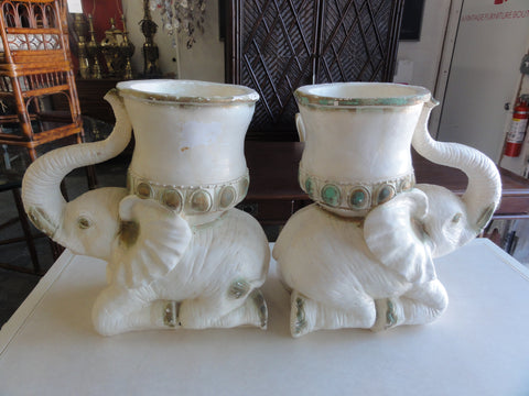 Pair of Charming Plaster Elephant Planters