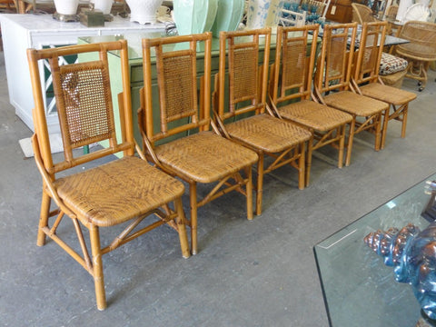 Set of 6 Island Style Rattan Woven Side Chairs