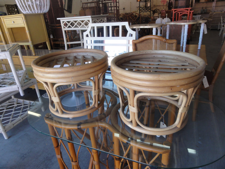 Pair of Rattan Ottomans
