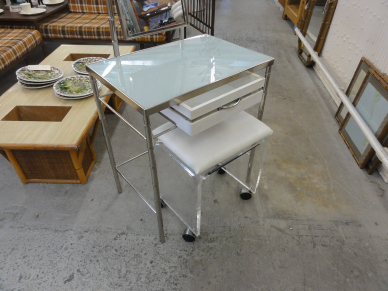 Chrome Faux Bamboo & Lucite Bench Vanity Set