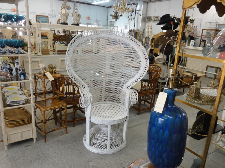 Palm Beach Chic Rattan Fan Back Chair