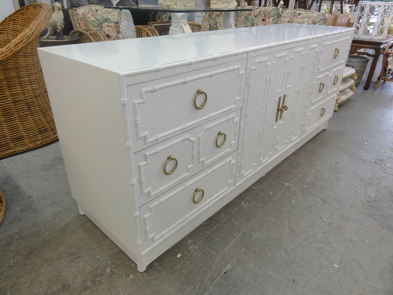 Restored Palm Beach Faux Bamboo Credenza
